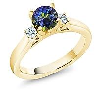 Gem Stone King 1.22カラット 天然石 ミスティックトパーズ (ブルー) シルバー925 イエローゴールドコーティング 指輪 リング