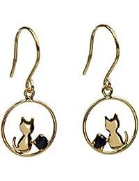 [四葉のクローバー]サファイア フックピアス 10金 10K K10 イエローゴールド 9月 誕生石 猫ピアス キャット レディース 女性:Ma660