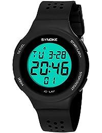 Goenn 可愛い 多機能 腕時計 LCD表示 スタンダード クォーツ デジタルモデル シリコンバンド ストップ ウォッチ 高品質 オシャレ 50M防水 スポーツ アウトドア レディース ガールズ (ブラック)