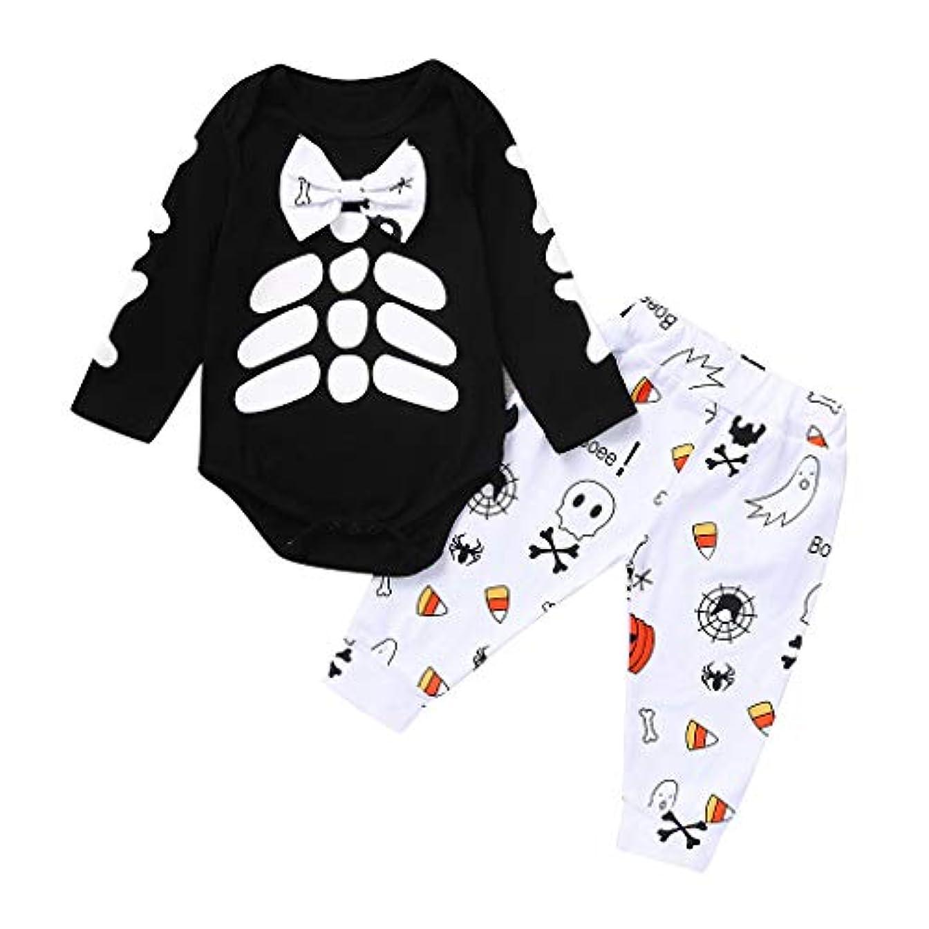 細分化するピストン前件幼児の男の子女の子ハロウィンスカルプリントロンパースボディースーツ+漫画のズボンの衣装秋冬 新生児