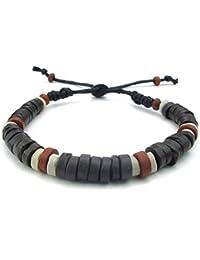 [テメゴ ジュエリー]TEMEGO Jewelry ファッション アクセサリー メンズ ブレスレット, 17-23cm 長さは調節可, セラミック コットンコード, カラー:白, ブラック, [インポート]