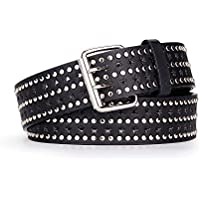Grommet Punk Belt for Women Jeans Dress, Faux Pu Leather with Double Prong Pin Buckle