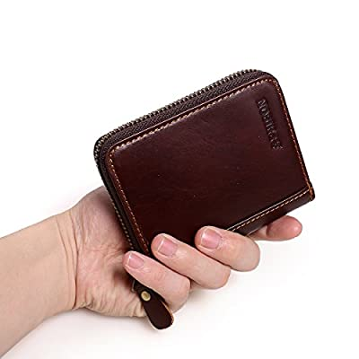 APHISON RFID Credit Card Holder Wallets for Women Men Coin Purse Zipper Small Case/Gift Box 8117