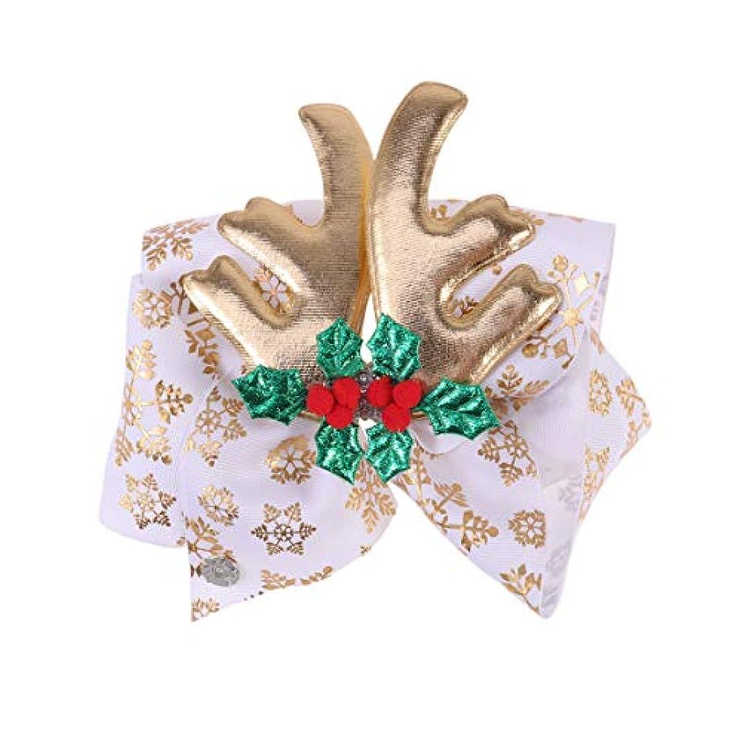 やめるエコー道路を作るプロセスLurrose クリスマスの弓のヘアクリップ枝角ヘアピンクリスマスの日の子供の子供のためのダイヤモンドヘアアクセサリー