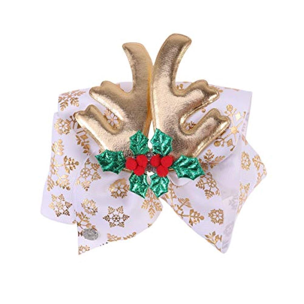 Lurrose クリスマスの弓のヘアクリップ枝角ヘアピンクリスマスの日の子供の子供のためのダイヤモンドヘアアクセサリー