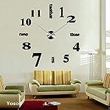 掛け時計 手作り DIY 壁時計 インテリア 室内 ウォールクロック ウォールステッカー ローマ数字と英語 時計を壁面に自由に設置できる シンプル 部屋装飾  簡単なおしゃれ時計 クロック (シルバー)の写真
