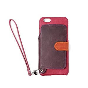 RAKUNI (ラクニ) iPhone 6/6s用 本革 背面ポケット 財布型 ストラップ付き レザーケース(スタンド機能) (iPhone6/6s, ラズベリー, ピンク&濃紫)