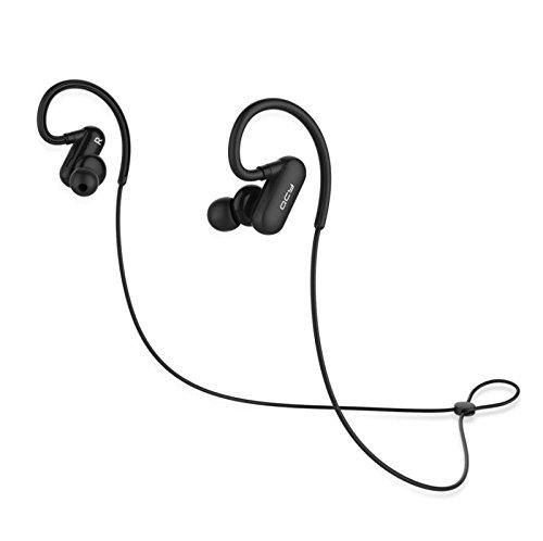 QCY Bluetooth イヤホン QY31 ワイヤレス スポーツイヤホン高音質 重低音 耳かけ式 bluetooth4.1 マイク付き ノイズキャンセリング ブルートゥース イヤホン QY19上位 【メーカー直販/一年保証】 (ブラック)