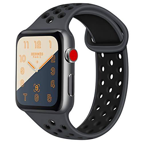 ATUP コンパチブル Apple Watch バンド 42mm 38mm 44mm 40mm、ソフトシリコン交換用リストバンド iWatch Series4/3/2/1に対応、iWatchは含まれていません (42/44 S/M, 03 暗灰色/黒)