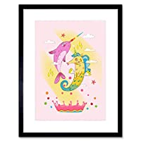 Unicorn Seahorse Narwhal Magic Art Print Framed Poster Wall Decor 9x7 inch ユニコーン魔法ポスター壁デコ