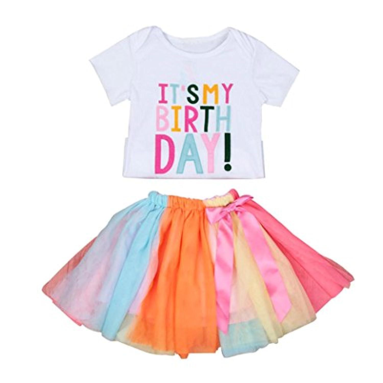 euone 0 – 5歳ベビー女の子誕生日刺繍Tシャツ+レインボーチュチュスカートセット