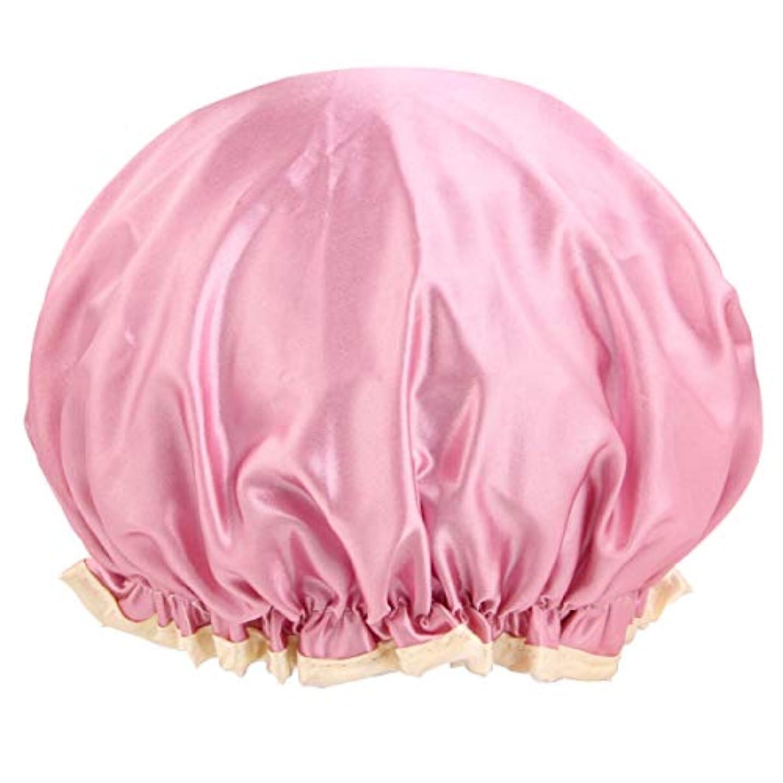 リズム別の解読するKYK DDouble層の厚い多機能サテン防水シャワーキャップ(シャンプーキャップ、シャワーキャップ、防水髪ジャケット、キッチンアンチフードキャップ) (Color : Pink)