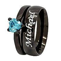 カスタム彫刻ブラックメッキ結婚式リングセットブルーハート婚約指輪ステンレススチールFree Engraving