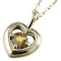[スカイベル] シトリン(黄水晶) k10イエローゴールド ペンダント ネックレス ハート 一粒石 レディース
