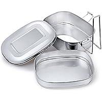 Ren He ステンレス 保温する 2段式 弁当箱 オーバルランチボックス
