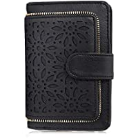 Jstrive Women RFID Blocking Small Organizer Wallet For Ladies Vintage Hollow Purse Multi Card Holder