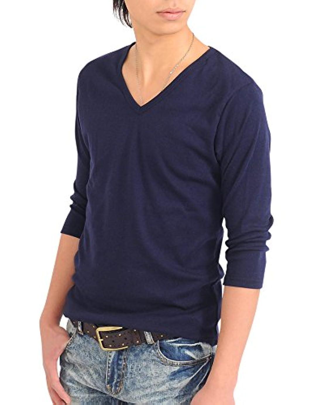 闇勧める渦(スペイド) SPADE 七分袖Tシャツ メンズ Vネック Uネック Tシャツ 七分丈 無地 【q922】