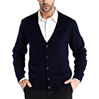 Kallspin Men's Cashmere Wool Blended Cardigan Sweater Relax Fit V-Neck Button Down Sweater with Pockets