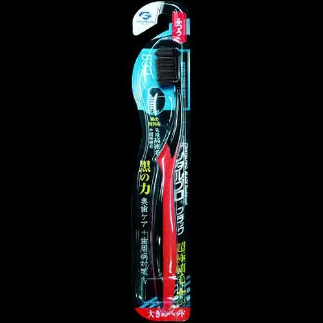 ニンニク中傷男らしいデンタルプロ ブラック歯ブラシ 超極細毛プラス大きめヘッド ふつう ×2セット
