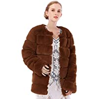 Dikoaina Women's Winter Soft Outerwear Warm Long Faux Fur Coat Jacket with Pockets