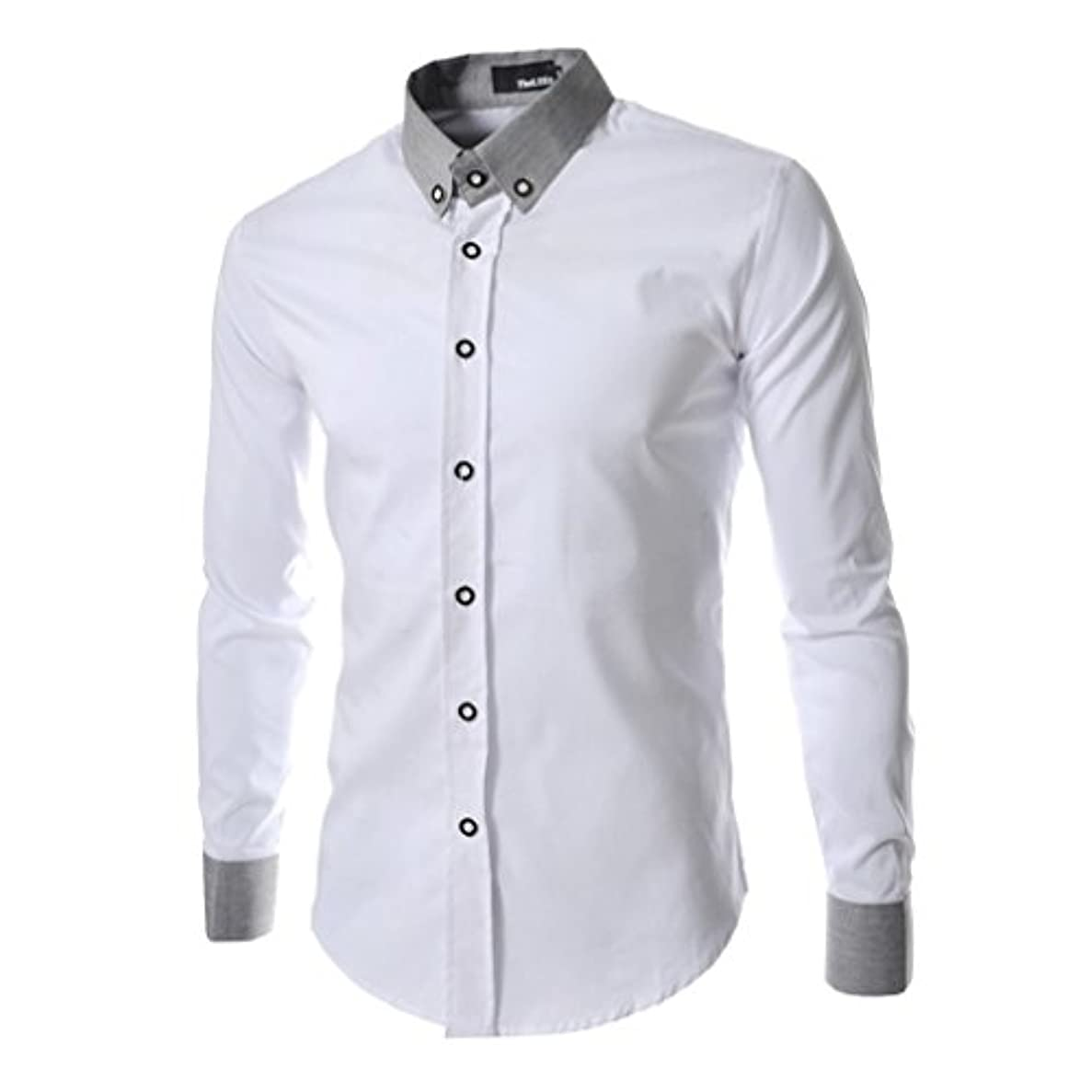 小麦成人期キャロラインHonghu メンズ シャツ 長袖 四つ色 ホワイト 2XL 1PC