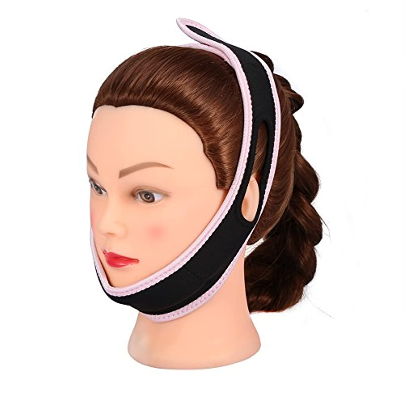 ファントム虹お酢顔の包帯フェイシャルスリミングマスクナイロン&ポリエステルフェイスケアのための薄い首の顔リフトダブルチン女性、黒