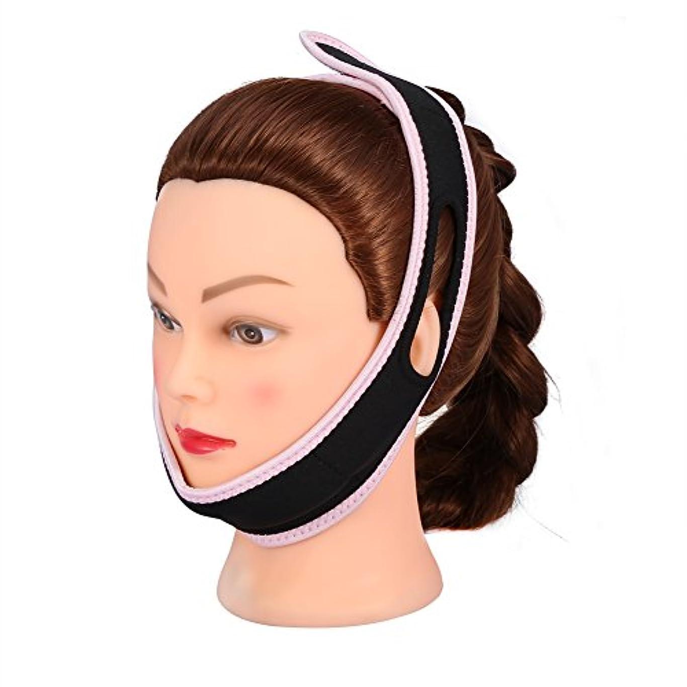 顔の包帯フェイシャルスリミングマスクナイロン&ポリエステルフェイスケアのための薄い首の顔リフトダブルチン女性、黒