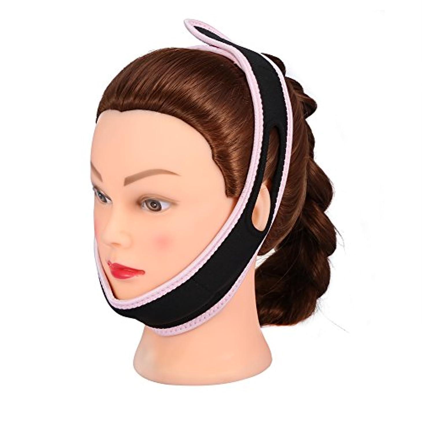 信念請うシンプルさ顔の包帯フェイシャルスリミングマスクナイロン&ポリエステルフェイスケアのための薄い首の顔リフトダブルチン女性、黒