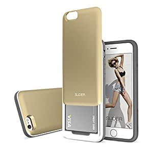 iPhone 6s Plus Case / iPhone 6 Plus Case, DesignSkin SLIDER GRAPHIC : Bumper TPU + PC 3-Layer Protection Soft and Hard w/ Sliding Type Card Storage Slot Smartphone Case (Gold) by Slider [並行輸入品]