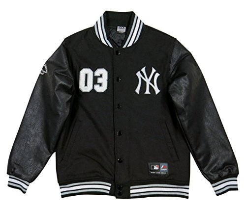 (マジェスティック) MAJESTIC MLB ニューヨーク ヤンキース PUレザー × メルトンウール スタジャン XXL BLACK/BLACK(ブラック×ブラック)