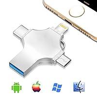 4in 1USB 3.0Iphoneフラッシュドライブメモリスティック、親指ペンドライブOTGジャンプwith LightningタイプC Mirco USBコネクタメモリ拡張for iPhone iPad Android iOS PC 32GB