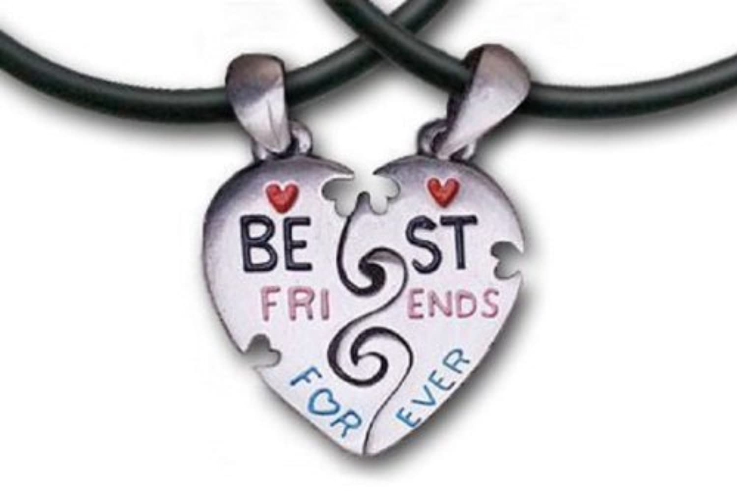 TWO Hearts - Best Friends Necklace - 2 Pendants, 2 Thick PVC Necklaces Bff by General