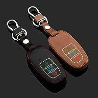発光革車のキーカバーケース用アウディa8新しいa6l a4 3ボタンスマート車のキーチェーンバッグ2カラーレザーキー財布ホルダー-黒