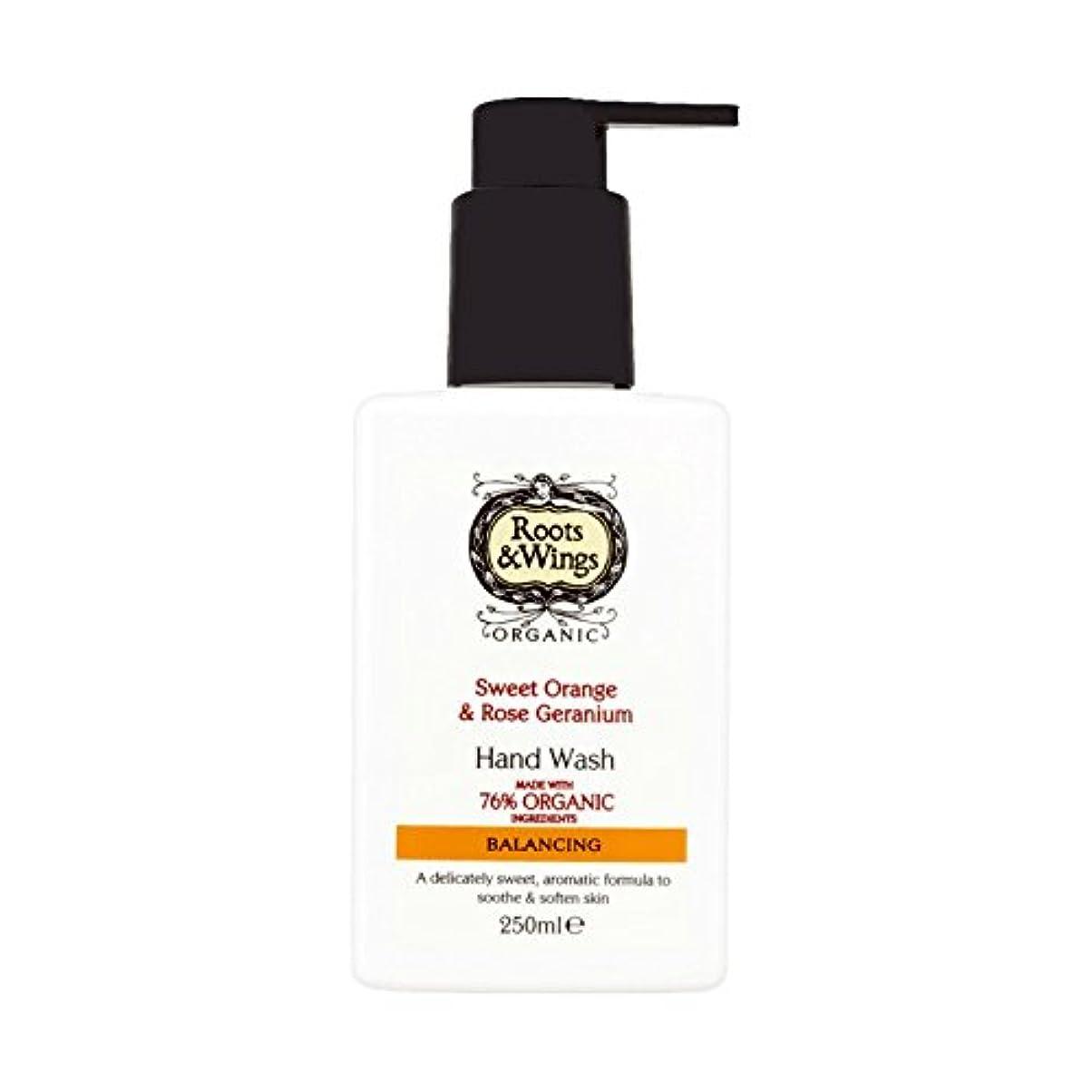 Roots & Wings Hand Wash Sweet Orange & Rose Geranium 250ml (Pack of 2) - ルーツ&翼手洗いスイートオレンジ&ゼラニウム250ミリリットルをバラ (x2...