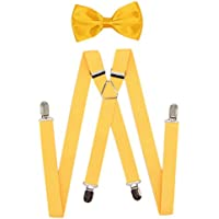 JAIFEI Men's X Back Suspenders & Bowtie Set - Perfect For Weddings & Formal Events
