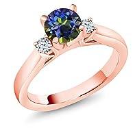 Gem Stone King 1.1カラット 天然石 ミスティックトパーズ (ブルー) 合成ホワイトサファイア (ダイヤのような無色透明) シルバー925 ピンクゴールドコーティング 指輪 リング