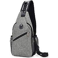 COAFIT Men's Sling Bag USB Port Casual Breathable Adjustable Sling Backpack Chest Bag
