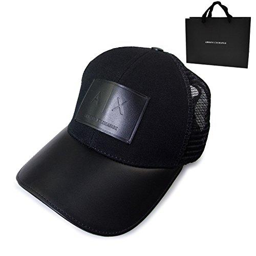 ARMANI EXCHANGE アルマーニエクスチェンジ キャップ ロゴ革 パッチ レザー メッシュ 帽子 ショップバッグ付 (ブラック)
