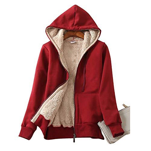 TOLOER Women's Winter Warm Fleece Lined Zip Up Hoodie Sweatshirt Jacket Coat Wine Red Medium