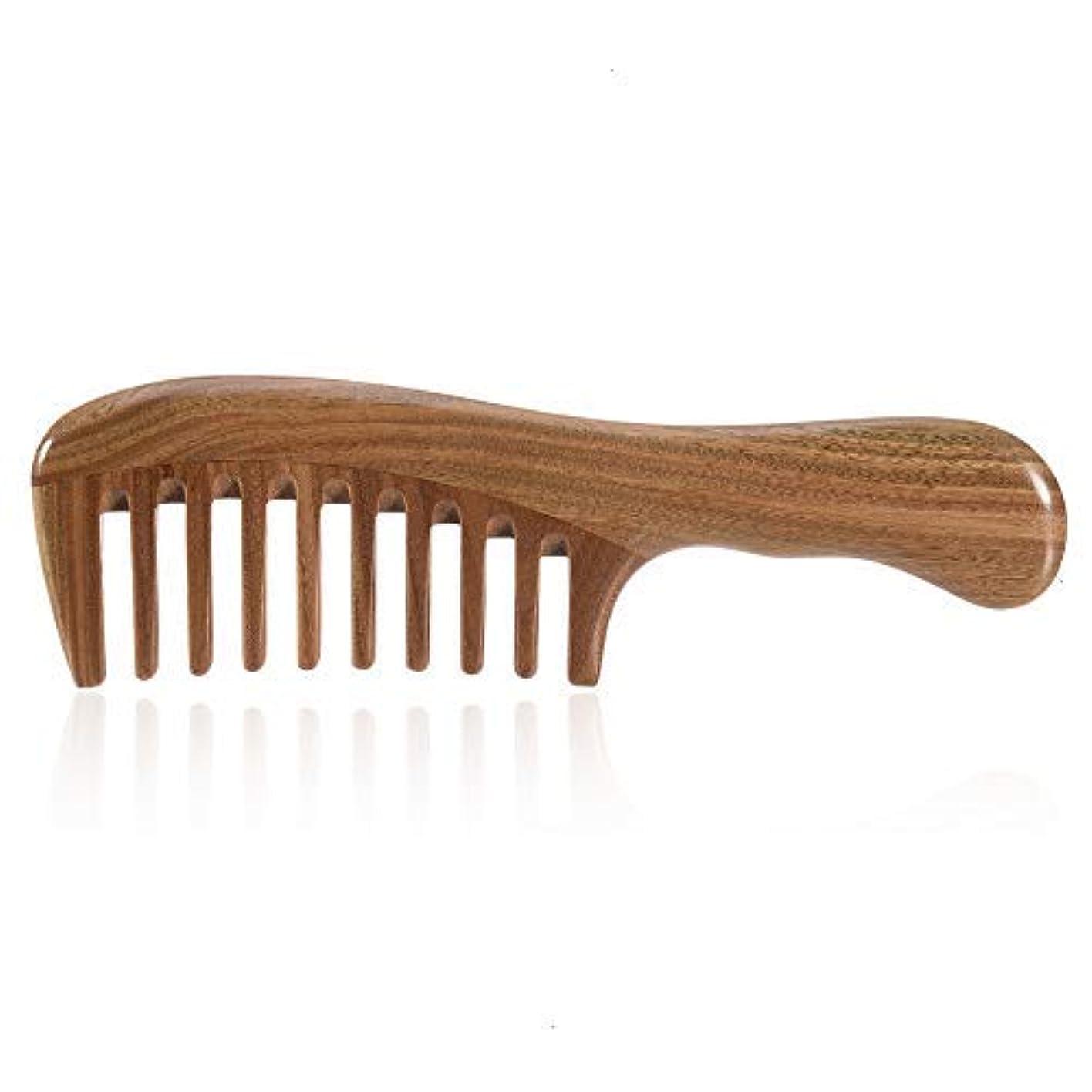 塗抹非互換省略するFeeko Wooden Comb, 1 PC Wide Tooth Detangling Handmade Natural Green Sandalwood Comb Anti-Static Thick Curly Wavy...