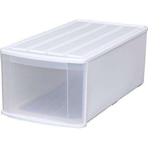 アイリスオーヤマ 収納ボックス チェスト 幅37.6×奥行74×高さ28cm ホワイト/クリア ELD
