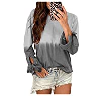 Romancly Women's Printed Ombre Premium Bandage Long Sleeve Casual Sweatshirt Top Grey S