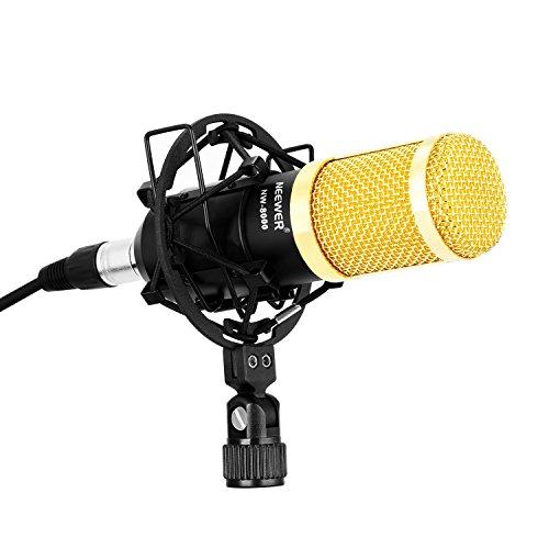 Neewer プロNW-8000コンデンサーマイクセット スタジオ 放送 録音 コンデンサーマイク+ショックマウント+マイクスポンジ+3.5mm XLRケーブル(ゴールド)