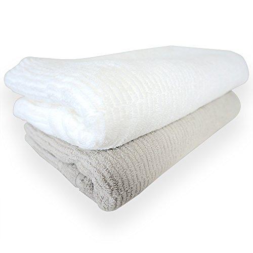 今治産タオル とにかく乾きやすいタオル [ バスタオル 2枚組セット ] 61×130cm 速乾 吸水 日本製 ギフト TANGONO (ライトグレー×ホワイト)