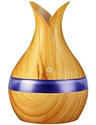 300ミリリットル超音波クールミスト加湿器カラーLEDライト付き自宅、ヨガ、オフィス、スパ、寝室、ベビールームの拡散器 - 木目調子 (Color : Light wood grain, Size : 165mm*110mm)