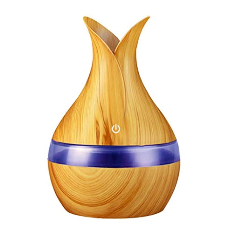 進化する持ってる追加する300ミリリットル超音波クールミスト加湿器カラーLEDライト付き自宅、ヨガ、オフィス、スパ、寝室、ベビールームの拡散器 - 木目調子 (Color : Light wood grain, Size : 165mm*110mm)