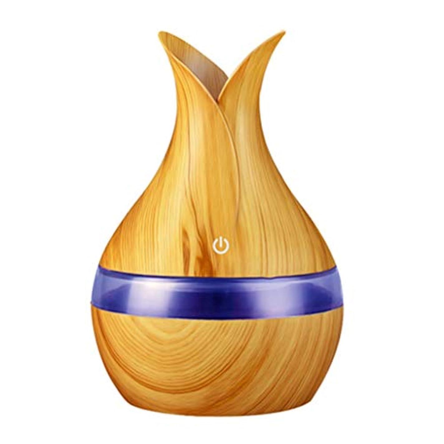 苦情文句サービスはい300ミリリットル超音波クールミスト加湿器カラーLEDライト付き自宅、ヨガ、オフィス、スパ、寝室、ベビールームの拡散器 - 木目調子 (Color : Light wood grain, Size : 165mm*110mm)