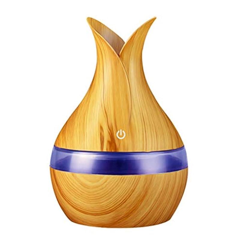 ブロック宮殿綺麗な300ミリリットル超音波クールミスト加湿器カラーLEDライト付き自宅、ヨガ、オフィス、スパ、寝室、ベビールームの拡散器 - 木目調子 (Color : Light wood grain, Size : 165mm*110mm)