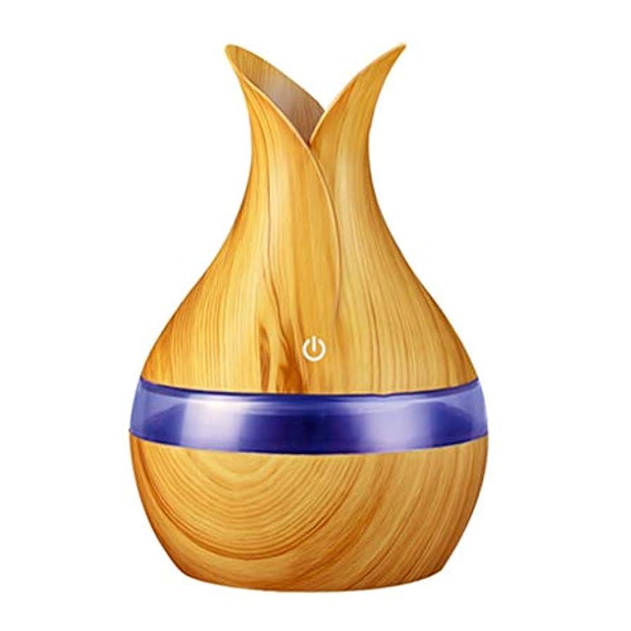 到着する申込み俳句300ミリリットル超音波クールミスト加湿器カラーLEDライト付き自宅、ヨガ、オフィス、スパ、寝室、ベビールームの拡散器 - 木目調子 (Color : Light wood grain, Size : 165mm*110mm)