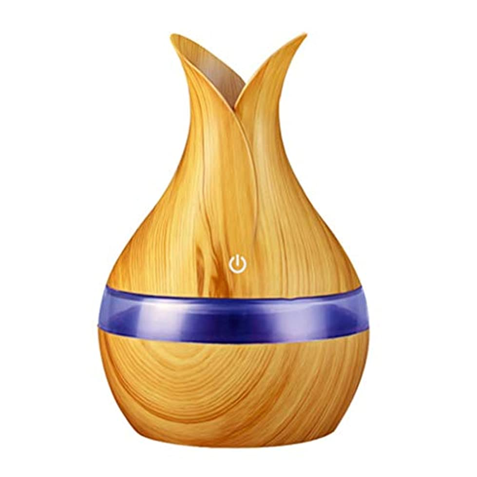 側溝リマークケント300ミリリットル超音波クールミスト加湿器カラーLEDライト付き自宅、ヨガ、オフィス、スパ、寝室、ベビールームの拡散器 - 木目調子 (Color : Light wood grain, Size : 165mm*110mm)